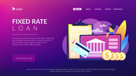Customer sitting with laptop and bank with credit card and financial savings. Personal bank account, savings bank deposit, fixed rate loan concept. Website vibrant violet landing web page template. Çizim