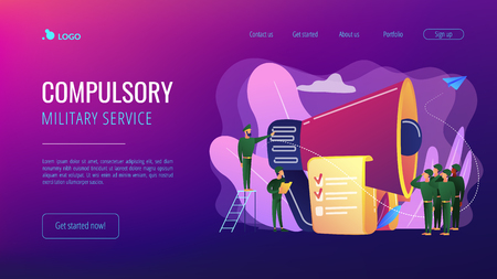 Officer with megaphone recuiting, soldiers saluting, tiny people. Military conscription, compulsory military service, new soldier recruiting concept. Website vibrant violet landing web page template.