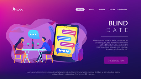 Blind date concept landing page.