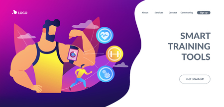 Fitness man doing workout with smart digital gadget for keeping fit exercises. Smart training, smart training tools, new gym technology concept. Website vibrant violet landing web page template.