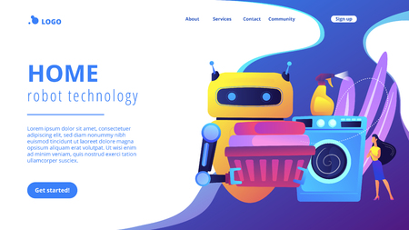 Robot holding basket with laundry and washing clothes in washing machine. Home robot technology, real life robots, personal domestic robots concept. Website vibrant violet landing web page template.