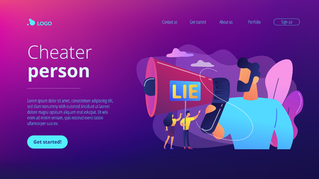 Businessman with huge megaphone cheating and tiny people holding word lie. Cheating in competition, cheater person, game cheats use concept. Website vibrant violet landing web page template. Standard-Bild - 124899742