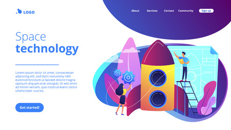 Space technology specialist and engineer constructing rocket, tiny people. Space technology, aerospace industry, space exploration process concept. Website vibrant violet landing web page template.