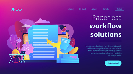 Specialists work with laptop digital data, tiny people. Digital transformation, digital solution development, paperless workflow solutions concept. Website vibrant violet landing web page template.