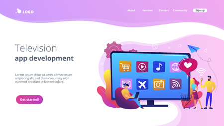 Tiny people with laptop, shopping cart using smart TV with apps. Smart TV applications, smart TV marketplace, television app development concept. Website vibrant violet landing web page template.