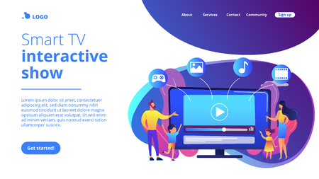 Tiny people family with kids watching smart television content. Smart TV content, smart TV interactive show, high resolution content concept. Website vibrant violet landing web page template.