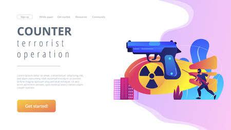 Armed terrorist in mask with nuclear bomb and weapon in city. International terrorism, terrorist groups, counter terrorist operation concept. Website vibrant violet landing web page template.