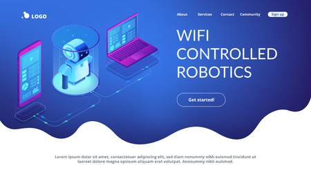 WiFi controlled robotics isometric3D landing page. Vettoriali