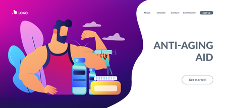 Tiny people doctor with syringe doing anabolic steroids injection to an athlete. Anabolic steroids, anti-aging aid, illegal sport drugs concept. Website vibrant violet landing web page template. Ilustración de vector
