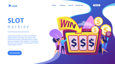 Lucky tiny people gambling and winning money at slot machine with dollar sign. Slot machine, money game winner, jackpot win concept. Website vibrant violet landing web page template.