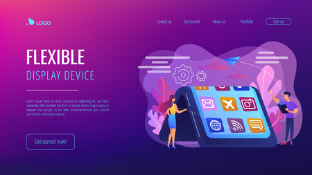 Tiny people at big smartphone with flexible display. Bendable device technology, flexible display device, next-generation electronics concept. Website vibrant violet landing web page template.