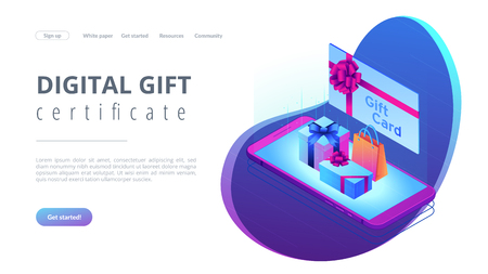 Gift card with ribbon and smartphone with shopping bag and boxes. Digital gift card, mobile store app, digital gift certificate concept. Isometric 3D website app landing web page template
