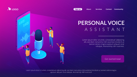 Users with microphone talk to voice assistant in smartphone. Personal voice assistant, voice recognition, soundwave intelligent technologies concept. Isometric 3D website app landing web page template Reklamní fotografie - 124899775