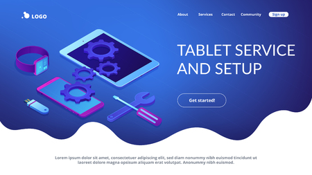 Tablet, smartphone and smartwatch with gears and tools need repair. Mobile device repair, tablet service and setup, smartwatch repair concept. Isometric 3D website app landing web page template