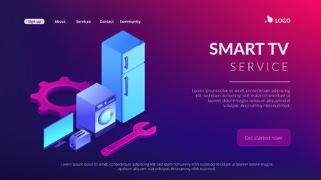 Broken fridge, washing machine, TV and toaster repair. Repair of household appliances, smart TV service, household master services concept. Isometric 3D website app landing web page template