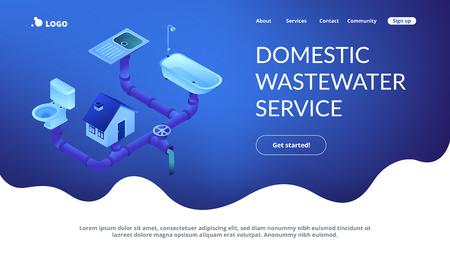 Système d'égouts de la maison avec tuyaux, lavabo, baignoire et toilettes. Système d'égouts, service des eaux usées domestiques, concept de technologies de système d'égout. Modèle de page Web de destination d'application de site Web 3D isométrique Vecteurs