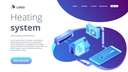 Smart house and air conditioning system controlled with smartphone. Air conditioning, smart cooling system, air conditioning units concept. Isometric 3D website app landing web page template