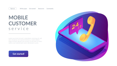 Mobile phone with handset and customer service available 24 7. Mobile customer service, 24 7 customer support, mobile self-service concept. Isometric 3D website app landing web page template