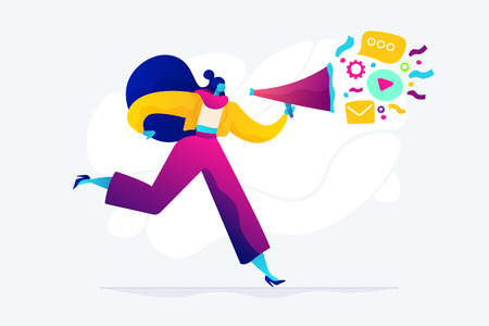 Pr managers communicate and huge megaphone. Public relations and affairs, communication, pr agency and jobs concept on white background. Bright vibrant violet vector isolated illustration Vector Illustratie