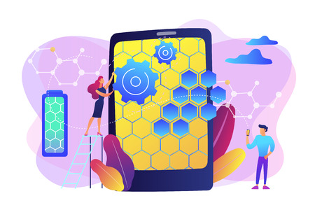 Tiny people scientists with graphene atomic structure for smartphone. Graphene technologies, artificial graphene, modern science revolution concept. Bright vibrant violet vector isolated illustration Ilustrace