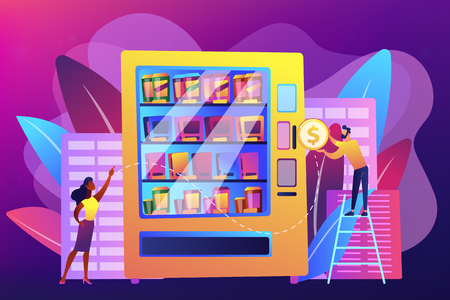 Consumer inserts dollar coin into vending machine and buys snacks and drink. Vending machine service, vending business, self-service machine concept. Bright vibrant violet vector isolated illustration