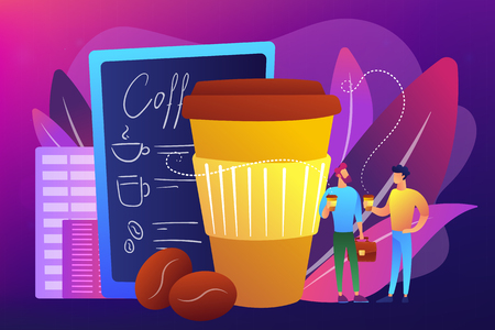 Businessmen drinking take away coffee at huge paper coffee cup and beans. Take away coffee, on the go drink, take away business concept. Bright vibrant violet vector isolated illustration Stock Vector - 124774063