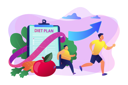Businessman running and losing weight with diet plan and healthy food, tiny people. Weight loss diet, low-carb diet, healthy meal food concept. Bright vibrant violet vector isolated illustration