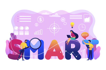Tiny business people working on goals and sitting on smart word. SMART Objectives, objective establishment, measurable goals development concept. Bright vibrant violet vector isolated illustration Stock Vector - 118012703