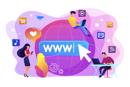 Tiny business people with digital devices at big globe surfing internet. Internet addiction, real-life substitution, living online disorder concept. Bright vibrant violet vector isolated illustration Ilustrace