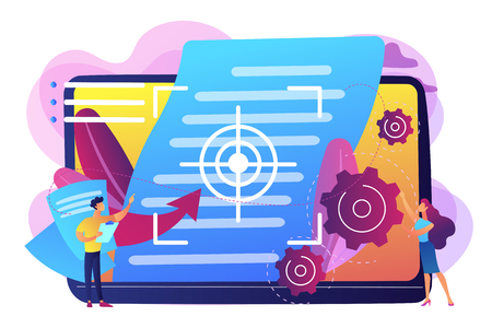 Tiny people project managers work on vision and scope document. Vision and scope document, project main plan, project management document concept. Bright vibrant violet vector isolated illustration