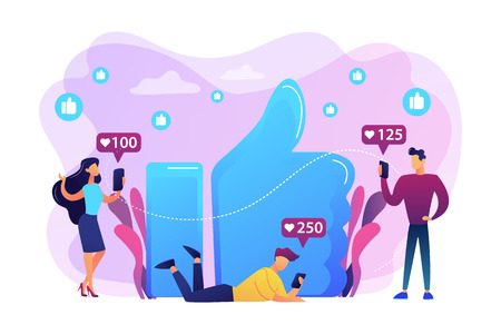 Tiny business people with smartphones and tablet get like notifications. Likes addiction, thumbs-up dependence, social media madness concept. Bright vibrant violet vector isolated illustration Ilustrace