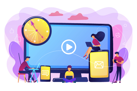 Tiny business people watching at digital devices screens and clock. Screen addiction, digital overload, information overload implications concept. Bright vibrant violet vector isolated illustration
