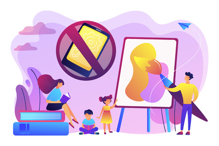 Tiny people parents paint and read books with children and no smartphone sign. Low tech parenting, tech-free kids, low media child concept. Bright vibrant violet vector isolated illustration