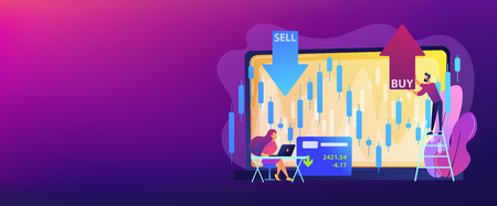 Tiny people stock traders at laptop with graph chart buy and sell shares. Stock market index, stockbroking company, stock exchange data concept. Header or footer banner template with copy space.