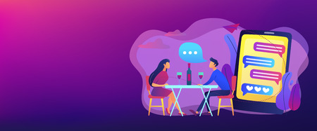 Man and woman using online dating app on smartphone and meeting at table, tiny people. Blind date, speed dating, online dating service concept. Header or footer banner template with copy space.