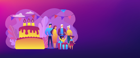Parents, grandparents and children with presents at big cake with celebrating, tiny people. Family tradition, family reunion, home party concept. Header or footer banner template with copy space. 일러스트