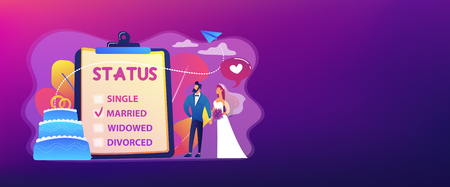 Married couple and marital status on clipboard, tiny people. Relationship status, marital status and separation, marriage and divorce concept. Header or footer banner template with copy space. Banque d'images - 124734822