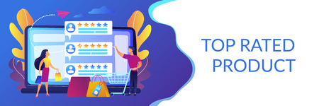 Tiny people customers rating online with reputation system program. Seller reputation system, top rated product, customer feedback rate concept. Header or footer banner template with copy space.