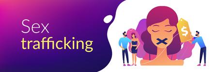 Sex trafficking concept banner header.