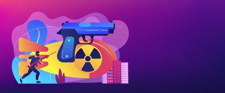 Armed terrorist in mask with nuclear bomb and weapon in city. International terrorism, terrorist groups, counter terrorist operation concept. Header or footer banner template with copy space.