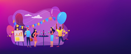 Happy tiny business people dancing, having fun and drinking wine. Corporate party, team building activity, corporate event idea concept. Header or footer banner template with copy space. Standard-Bild - 124734867