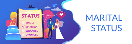 Married couple and marital status on clipboard, tiny people. Relationship status, marital status and separation, marriage and divorce concept. Header or footer banner template with copy space. Illustration