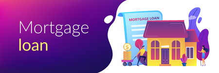 Borrower making mortgage payment for real estate and mortgage loan agreement. Mortgage loan, home bank credit, real estate services concept. Header or footer banner template with copy space. Vektorové ilustrace