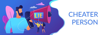 Businessman with huge megaphone cheating and tiny people holding word lie. Cheating in competition, cheater person, game cheats use concept. Header or footer banner template with copy space.