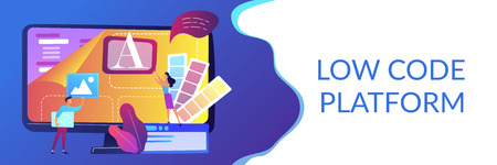 Programmers at computer using low code platform on computer, tiny people. Low code development, low code platform, LCDP easy coding concept. Header or footer banner template with copy space.