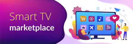 Tiny people with laptop, shopping cart using smart TV with apps. Smart TV applications, smart TV marketplace, television app development concept. Header or footer banner template with copy space. 일러스트