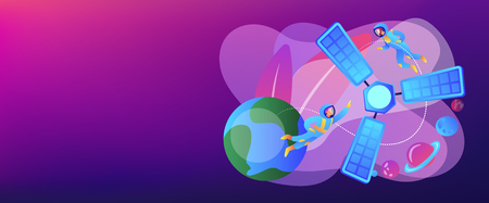Tiny people astronauts in outer space and satellite orbiting the Earth. Satellite launch, orbital launch system, carrier rocket start concept. Header or footer banner template with copy space.
