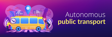 Passengers like and approve autonomos robotic driverless bus. Autonomous public transport, self-driving bus, urban transport services concept. Header or footer banner template with copy space.  イラスト・ベクター素材