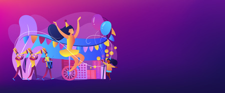 Parade of tiny people, clown, marching music band at national holiday or carnival. Parade, massive celebration, march procession of people concept. Header or footer banner template with copy space.