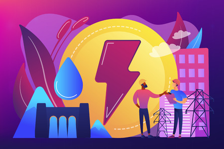 Engineers working at hydropower dam producing falling water energy. Hydropower electricity, water power, renewable sources concept. Bright vibrant violet vector isolated illustration